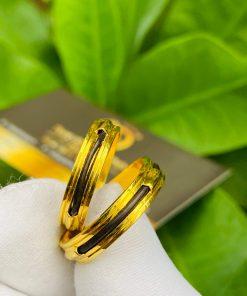 Cặp nhẫn vàng luồng 1 lông voi ngoài 2 rãnh sang trọng