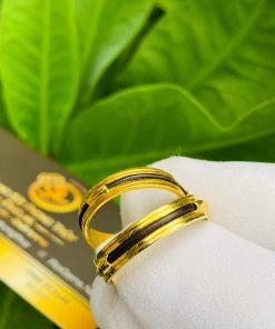 Cặp nhẫn vàng luồng 1 lông voi ngoài 2 rãnh giá tốt