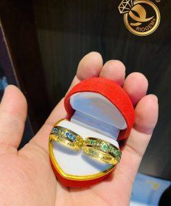 Cặp nhẫn vàng nam nữ đính đá luồng 2 Lông (lông FAKE) đẹp