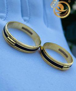 Cặp nhẫn vàng luồng 1 lông voi ngoài 2 rãnh chất lượng thật