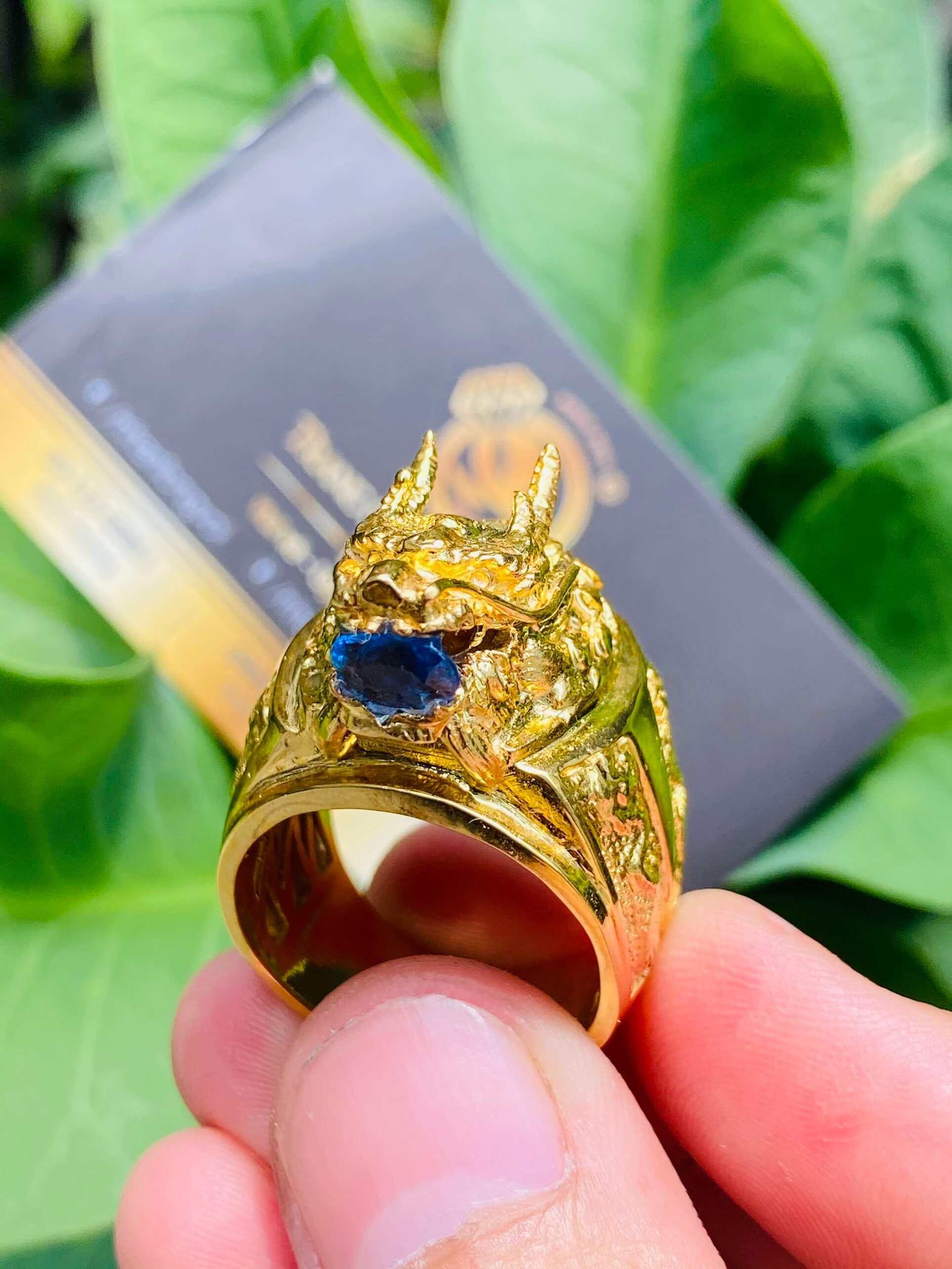 Nhẫn đầu rồng vàng 18k với thiết kế siêu đỉnh