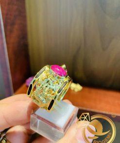 Nhẫn 2 Rồng 3D chầu ngọc chạm khắc tinh xảo