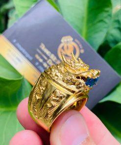 Nhẫn hình đầu rồng vàng 18k ngậm ngọc siêu chất