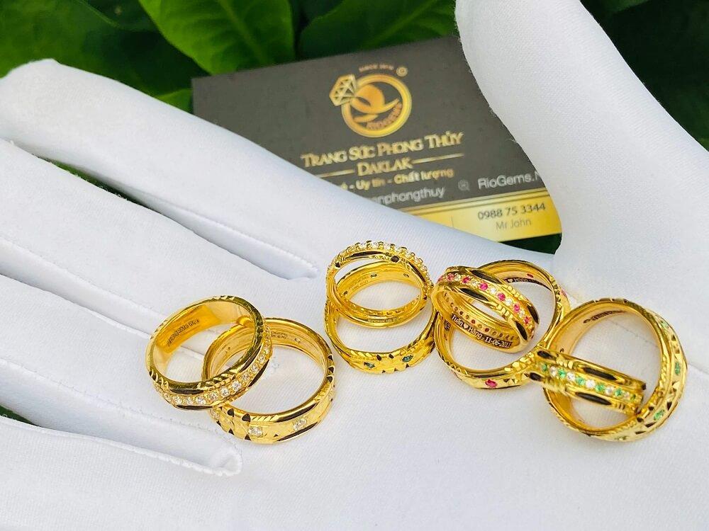 Các mẫu nhẫn đính đá Cz hợp MỆNH vàng 18K luồng lông Bôn Đôn (lông FAKE) đẹp