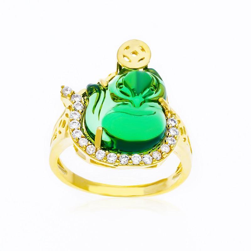 Nhẫn ngọc bích nạm kim cương biểu tượng hồ ly