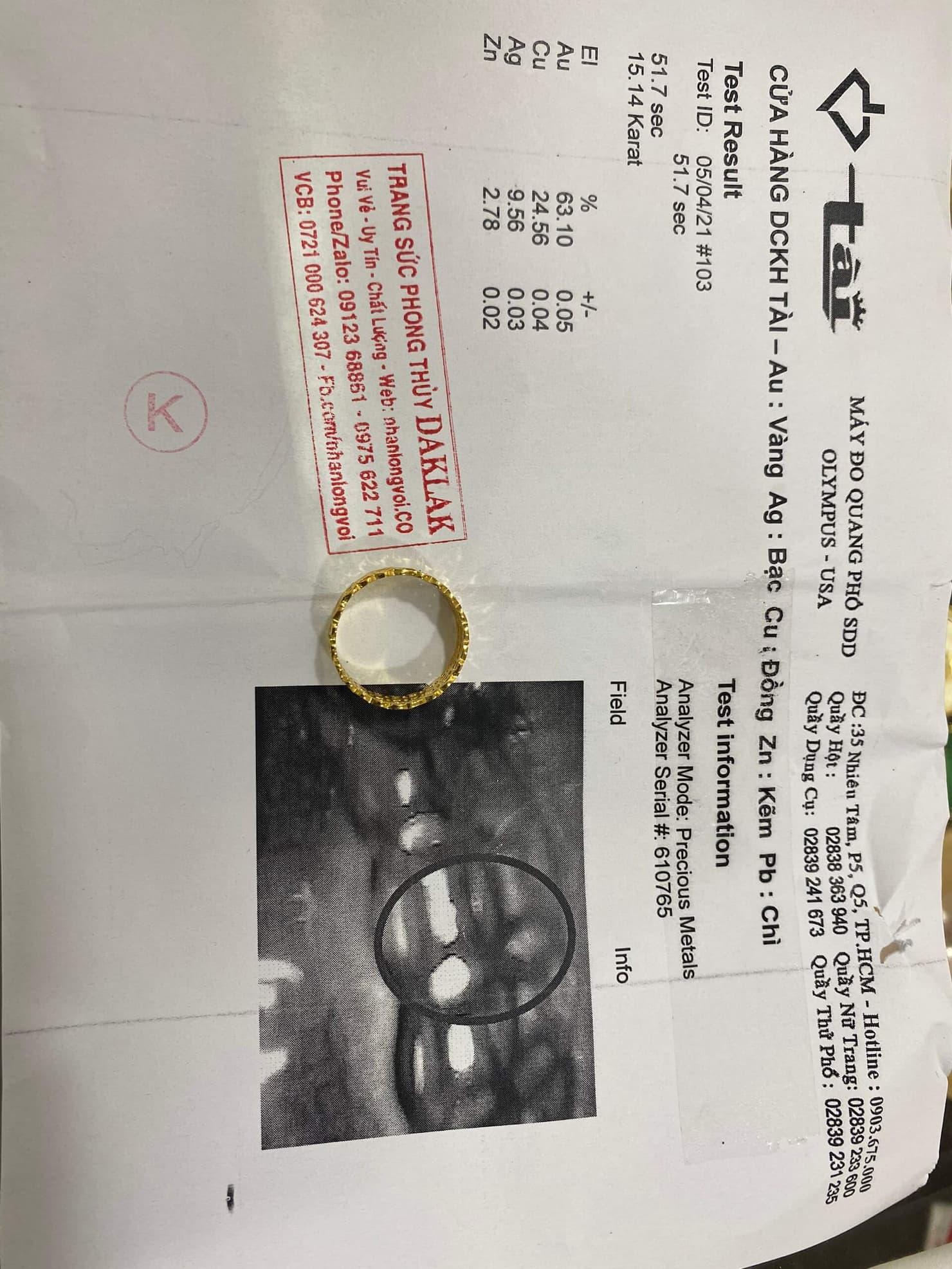 nhẫn kim tiền kép vàng đơn giản