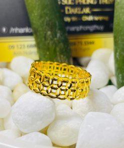 nhẫn kim tiền kép vàng 18K đeo ngón giữa đẹp mắt