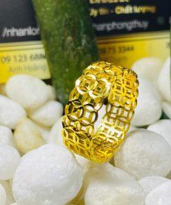 nhẫn kim tiền kép vàng