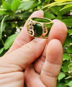 Nhẫn Ngọc Bích tự nhiên đính chữ Lộc vàng 18K cao cấp