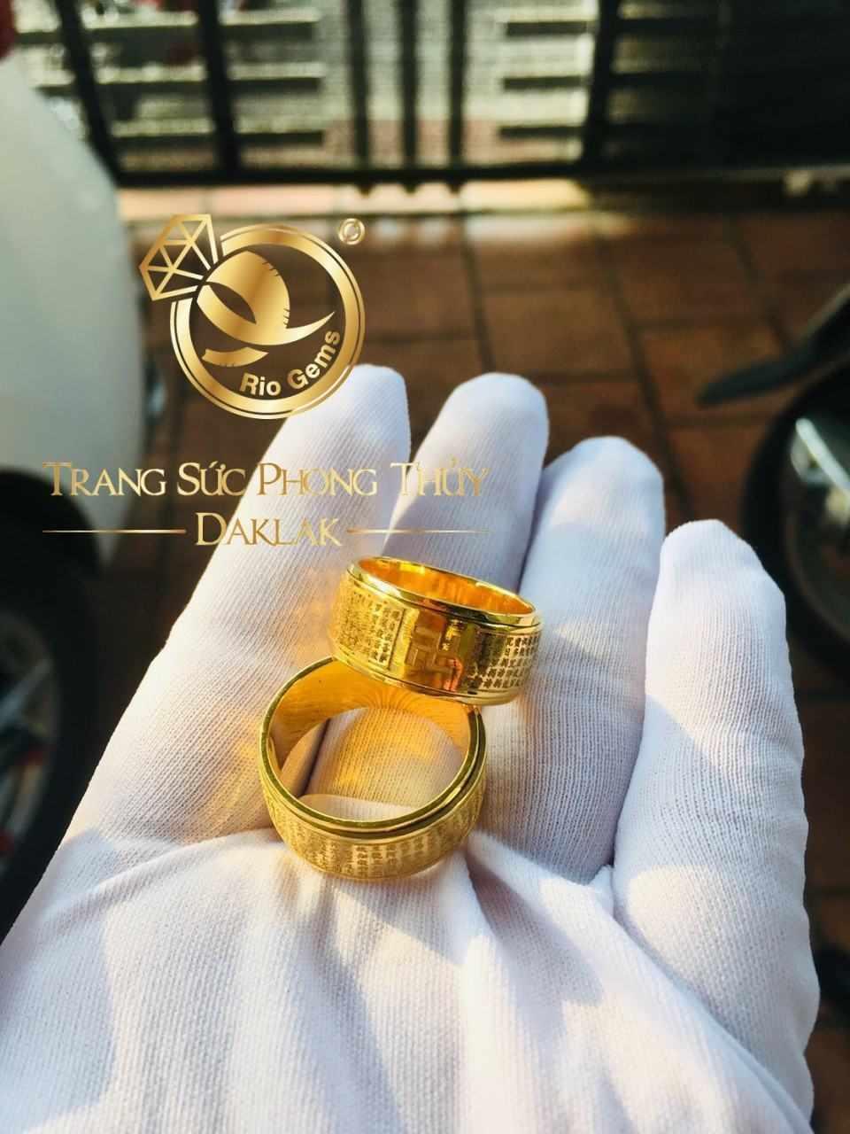 Nhẫn bát nhã tâm kinh (vàng 18K, xoay 360, bảng 15li)