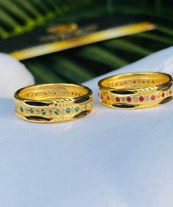 Nhẫn vàng luồng 2 Lông Voi 1 hàng đá tấm trắng lấp lánh