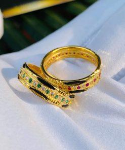 Nhẫn vàng luồng 2 Lông Voi đính đá tượng trưng cho sự hạnh phúc