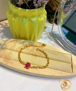 Lắc tay hồ ly vàng 18k đá ruby đẹp