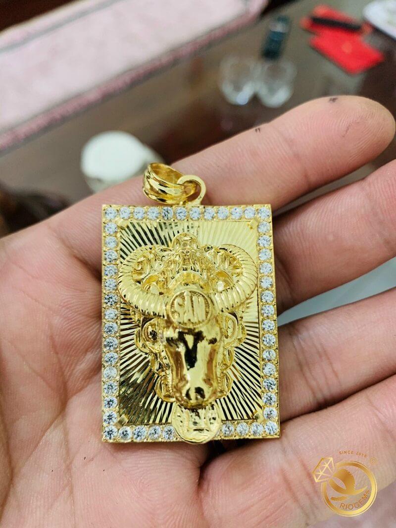 Mặt dây chuyền hình con TRÂU vàng tây 18K đúc 3D nguyên khối chất