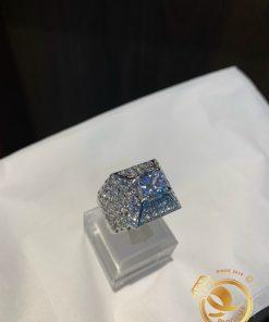 Nhẫn xoàn tấm nam đính kim cương Moisanite