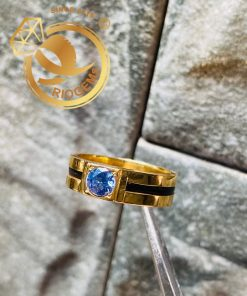 Nhẫn vàng nam đính đá xanh đẹp mắt