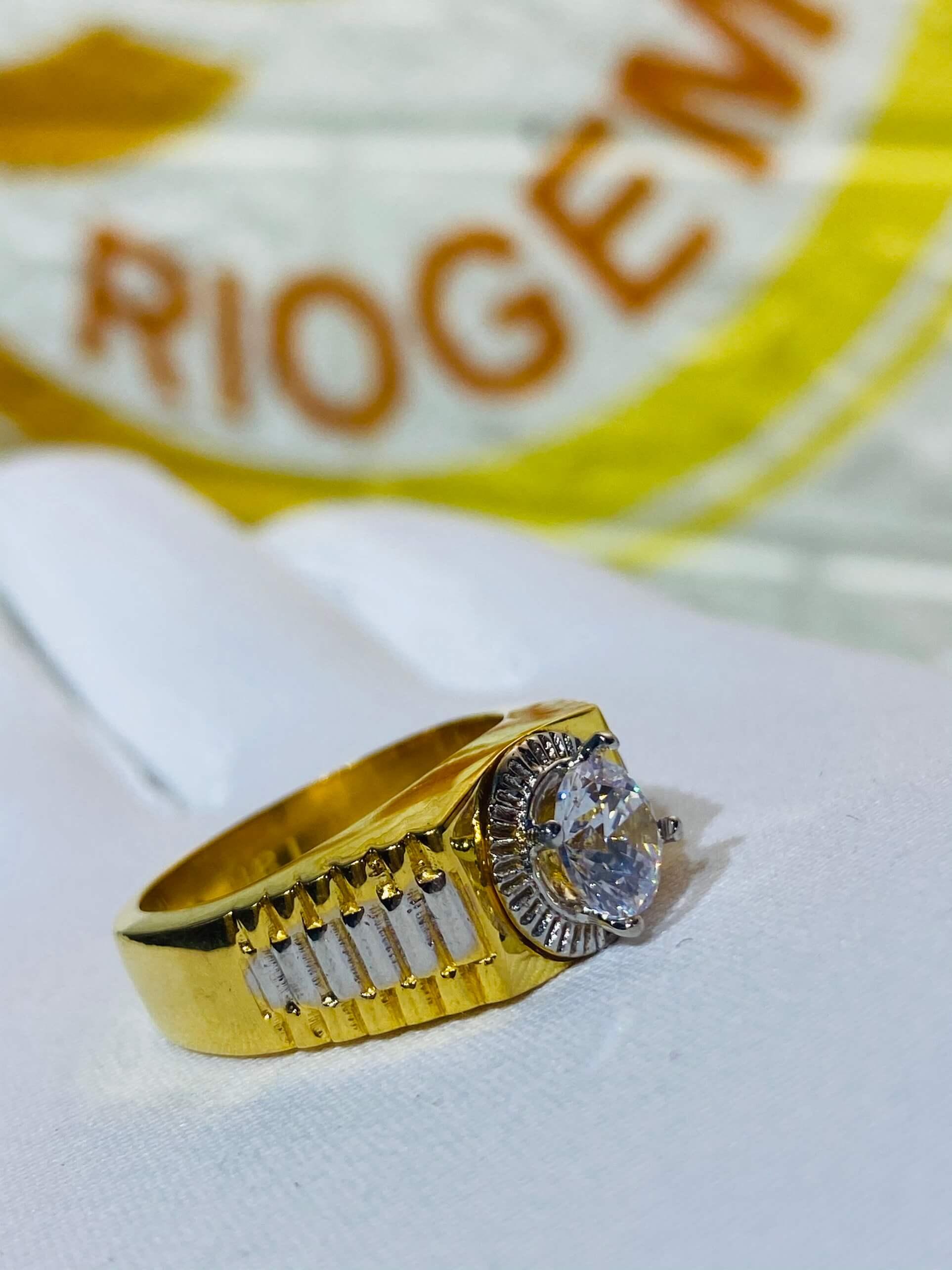 Nhẫn Rolex đính đá Zc phong thủy cho nam vàng 18K phong thủy, may mắn