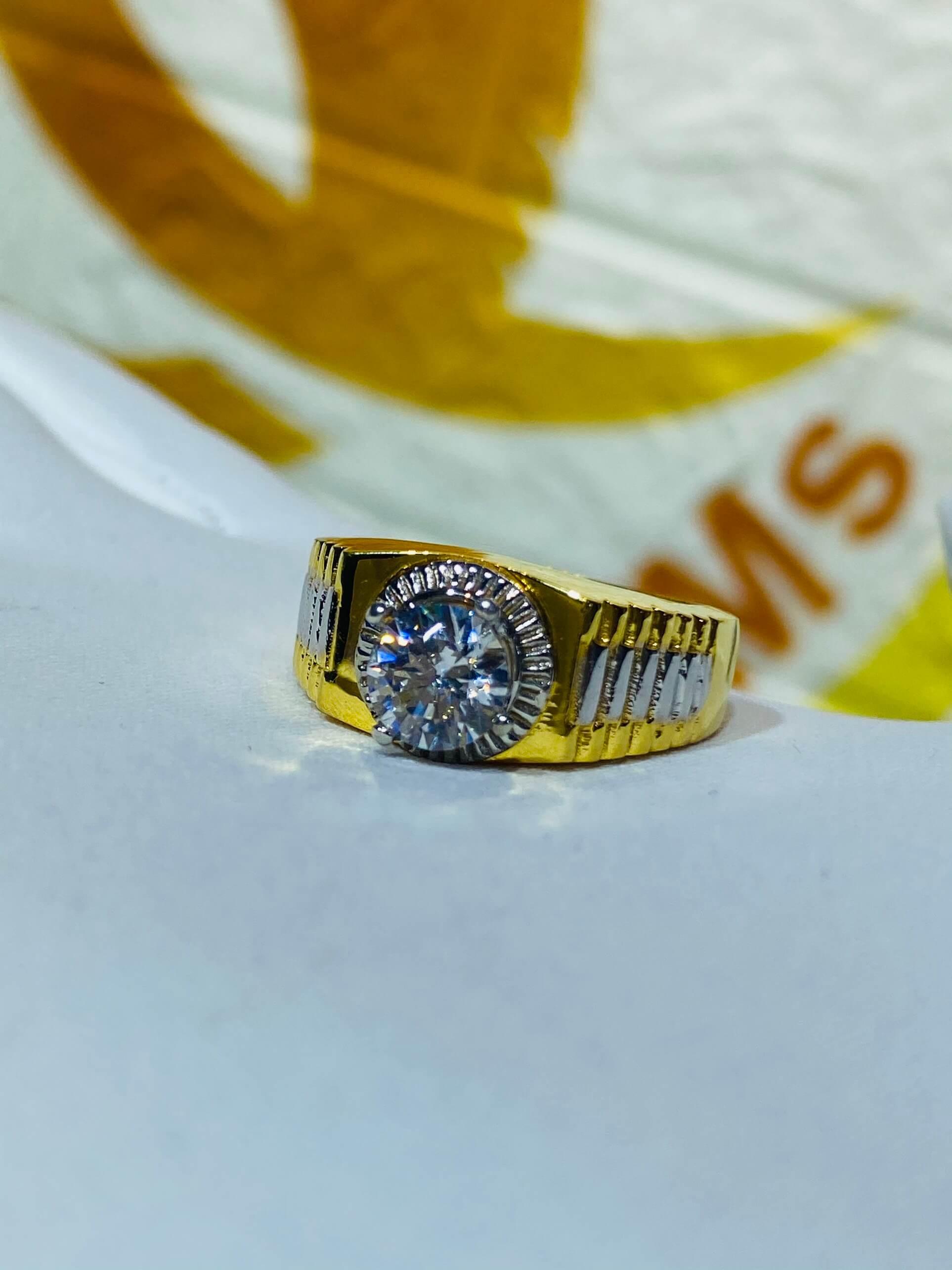 Nhẫn Rolex đính đá Zircon cho Nam vàng 18K sang trọng
