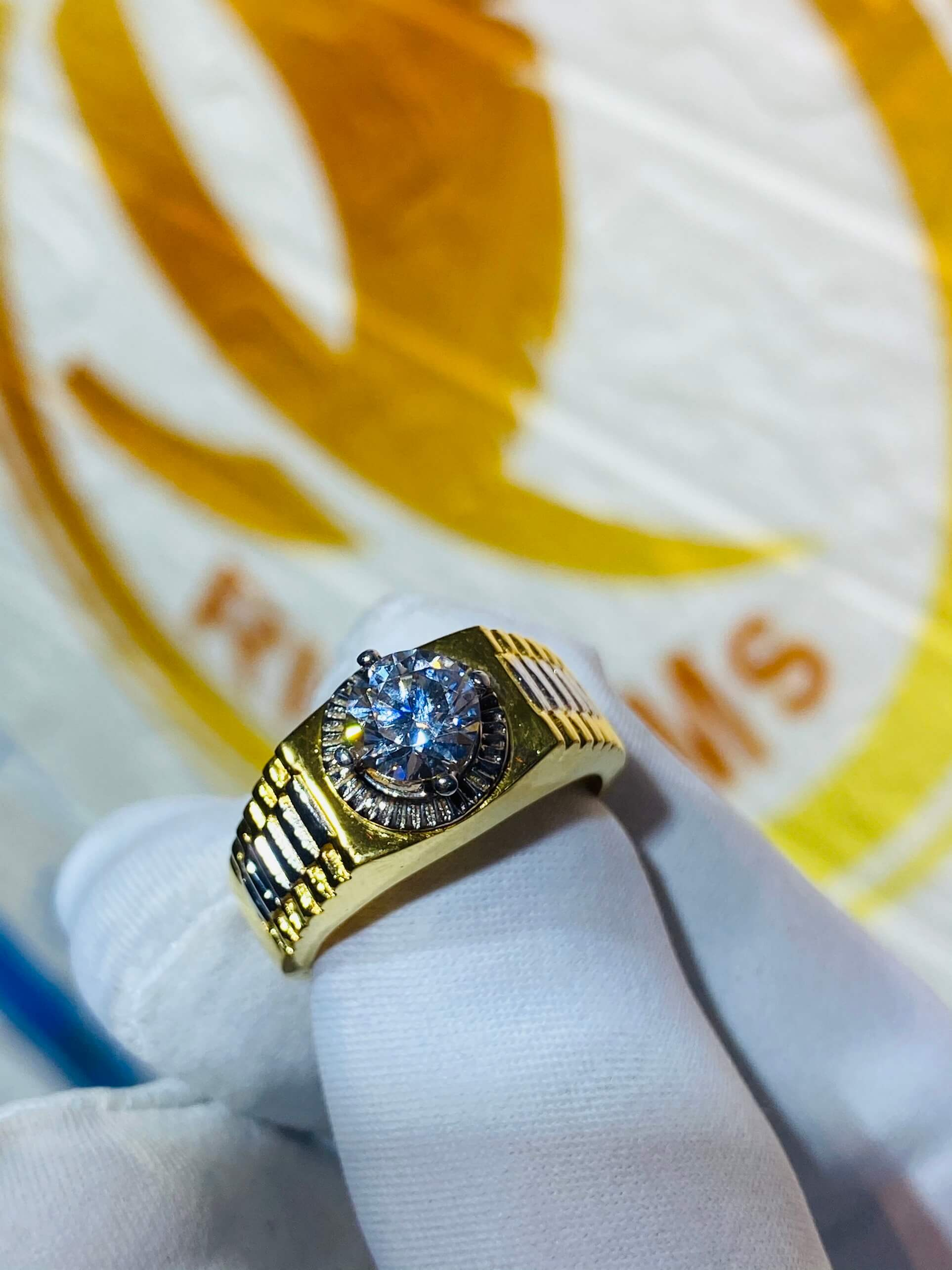 Nhẫn Rolex đính đá Zc cho Nam vàng 18K đẹp, tinh tế