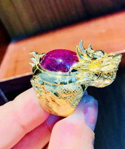 Nhẫn vàng nam đính đá Ruby cho nam mệnh KIM