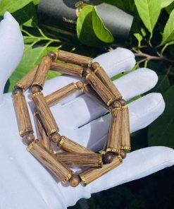 Dây chuyền gỗ trầm bọc vàng đẹp