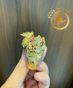 Nhẫn tứ linh LONG LÂN QUY PHỤNG 1 cây vàng 18K ôm ngọc RUBY Thái