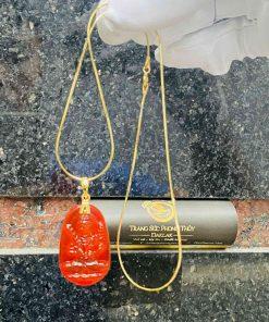 Dây chuyền vàng tây mặt Hư không tạng bồ tát đá Agate