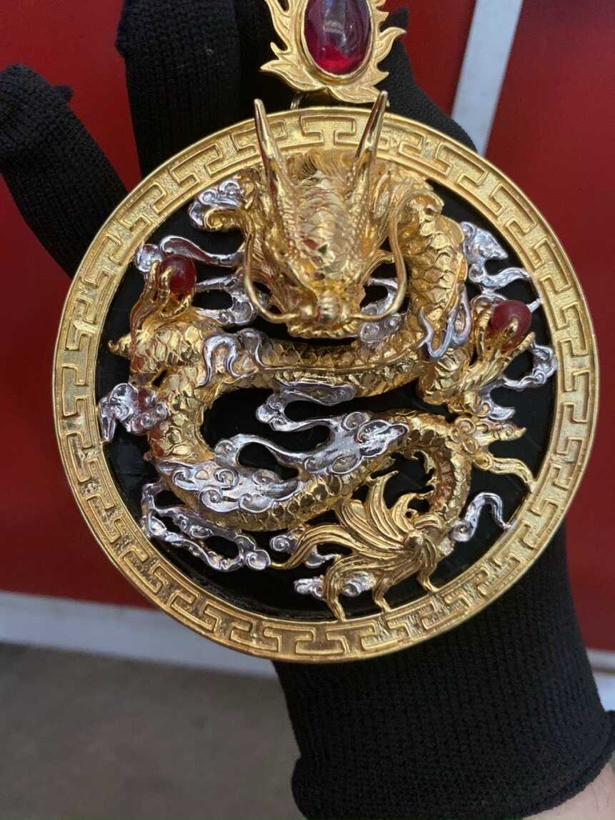 Mặt dây chuyền 5cm rồng vàng