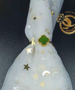 Nhẫn vàng nữ cỏ may mắn 4 lá đá Ngọc Bích đính chữ H