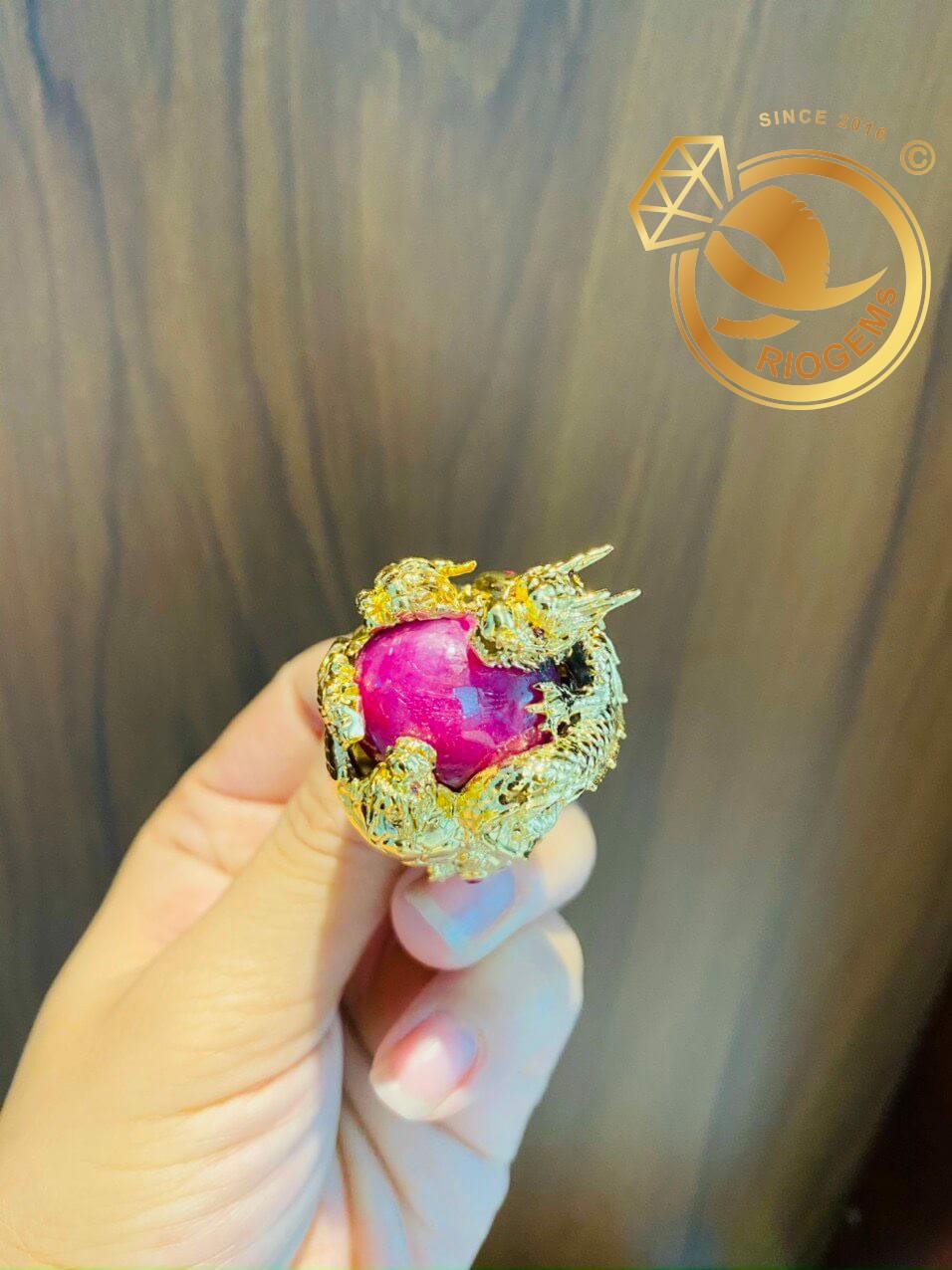 Nhẫn tứ linh LONG LÂN QUY PHỤNG 1 cây vàng 18K ôm ngọc RUBY Thái độc đáo