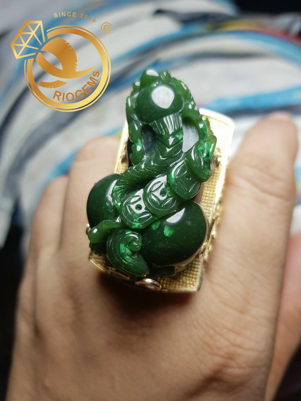 Nhẫn tỳ hưu nam mệnh Mộc bằng vàng 18k