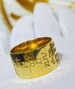 """Nhẫn vàng khắc """"Thần Chú"""" Om Mani Padme Hum"""