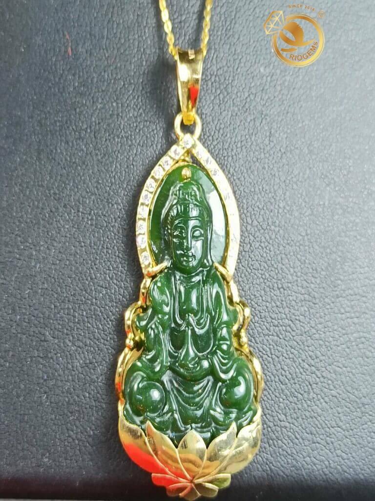 Mặt dây chuyền Phật bà quan âm ngọc bích Canada