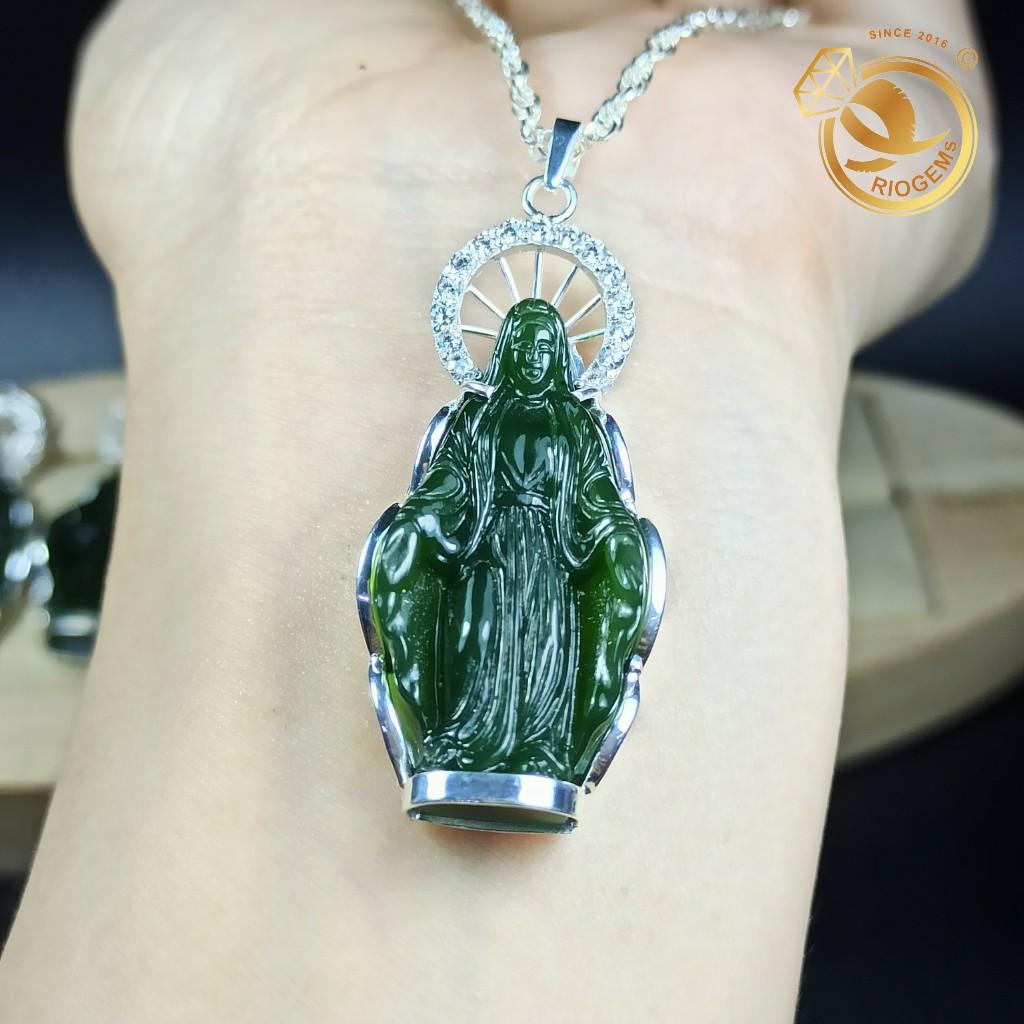Mặt dây chuyền hình Đức Mẹ Maria chất liệu ngọc bích