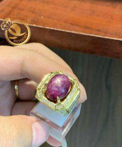 Nhẫn nam vàng đính đá Ruby sao Yên Bái tấm Cz