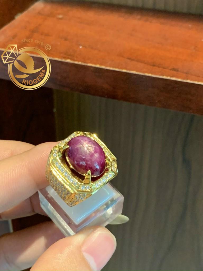 Nhẫn nam đá Ruby cho người mệnh thổ