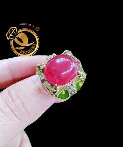 Nhẫn nam vàng 18K Ruby huyết bồ câu