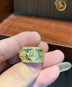 Nhẫn rồng nam vàng 18K đính ngọc Garnet