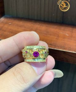 Nhẫn rồng nam 3D vàng 18K chầu ngọc Garnet 2 viền hoa