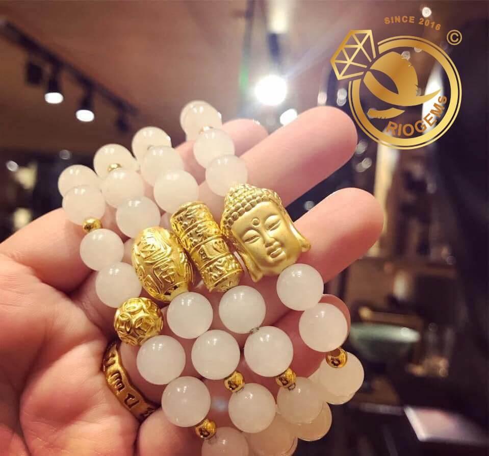 Lắc tay Bạch ngọc phối với vàng 24K RioGems