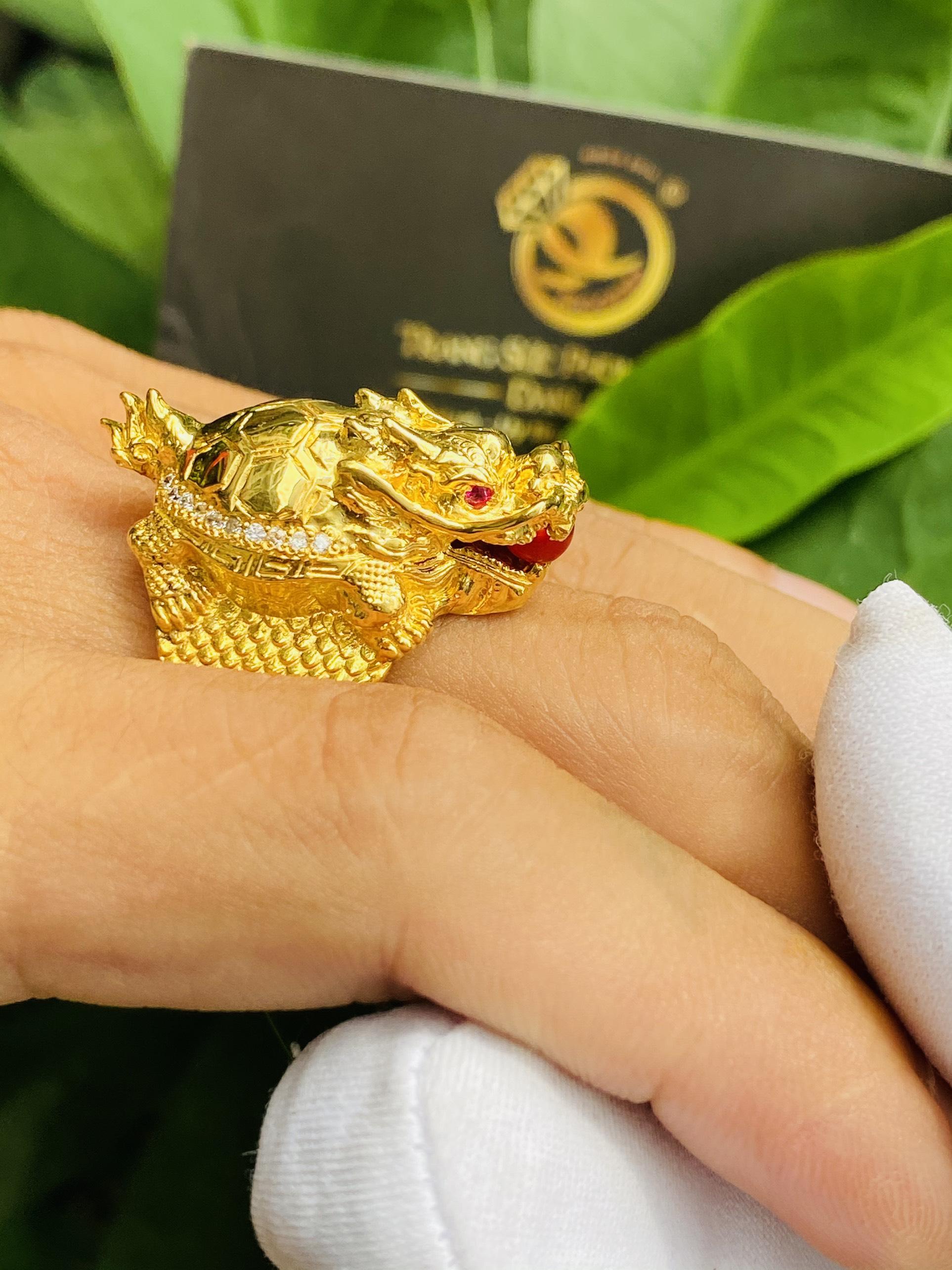 Nhẫn long quy ngậm ngọc mini vàng 18k phong thủy chế tác tinh xảo