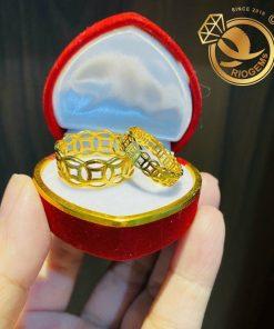 Nhẫn kim tiền vàng 18k Riogems