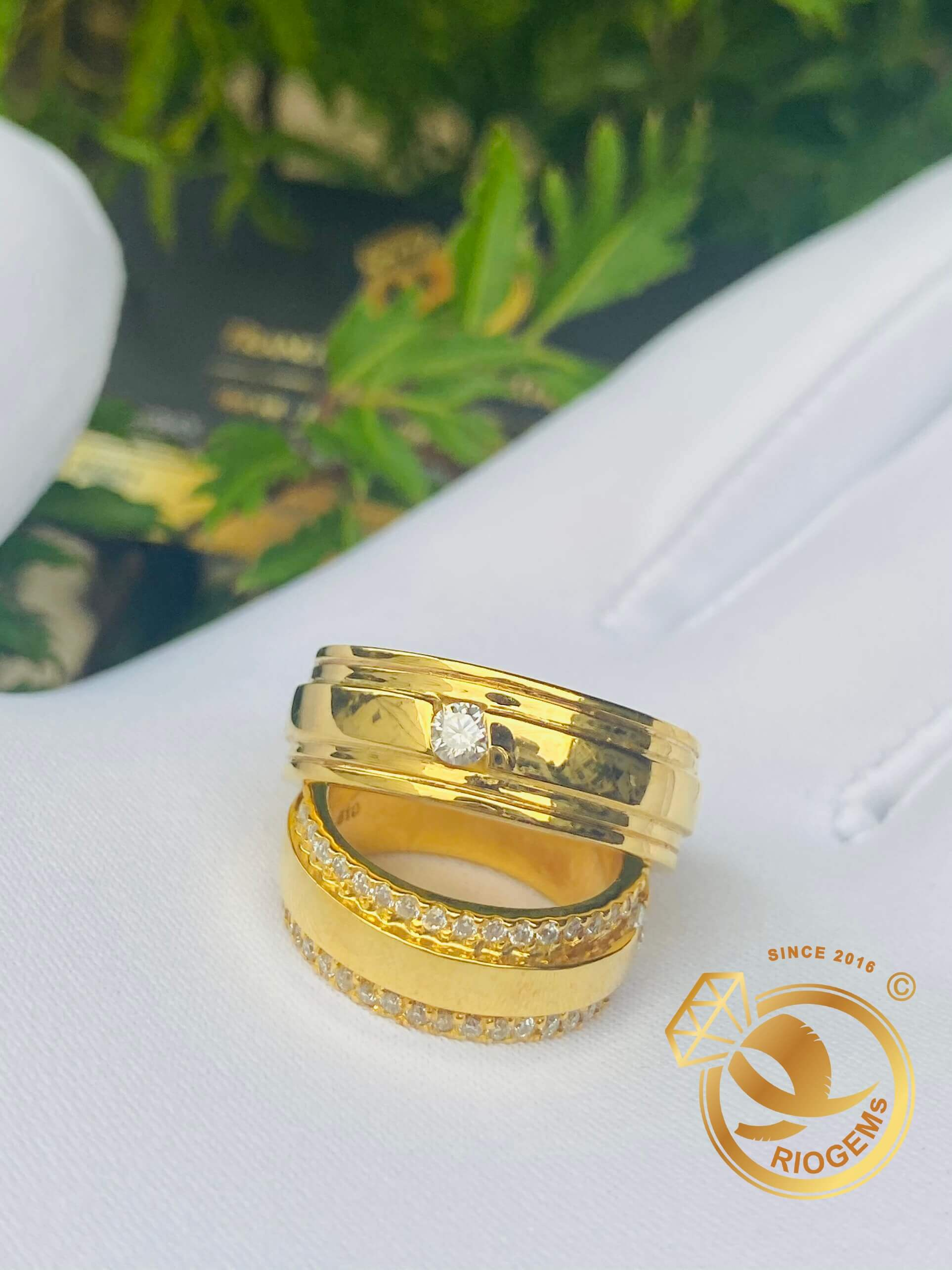 Cặp nhẫn kỷ niệm ngày cưới VÀNG 18K đính đá Cz Riogems