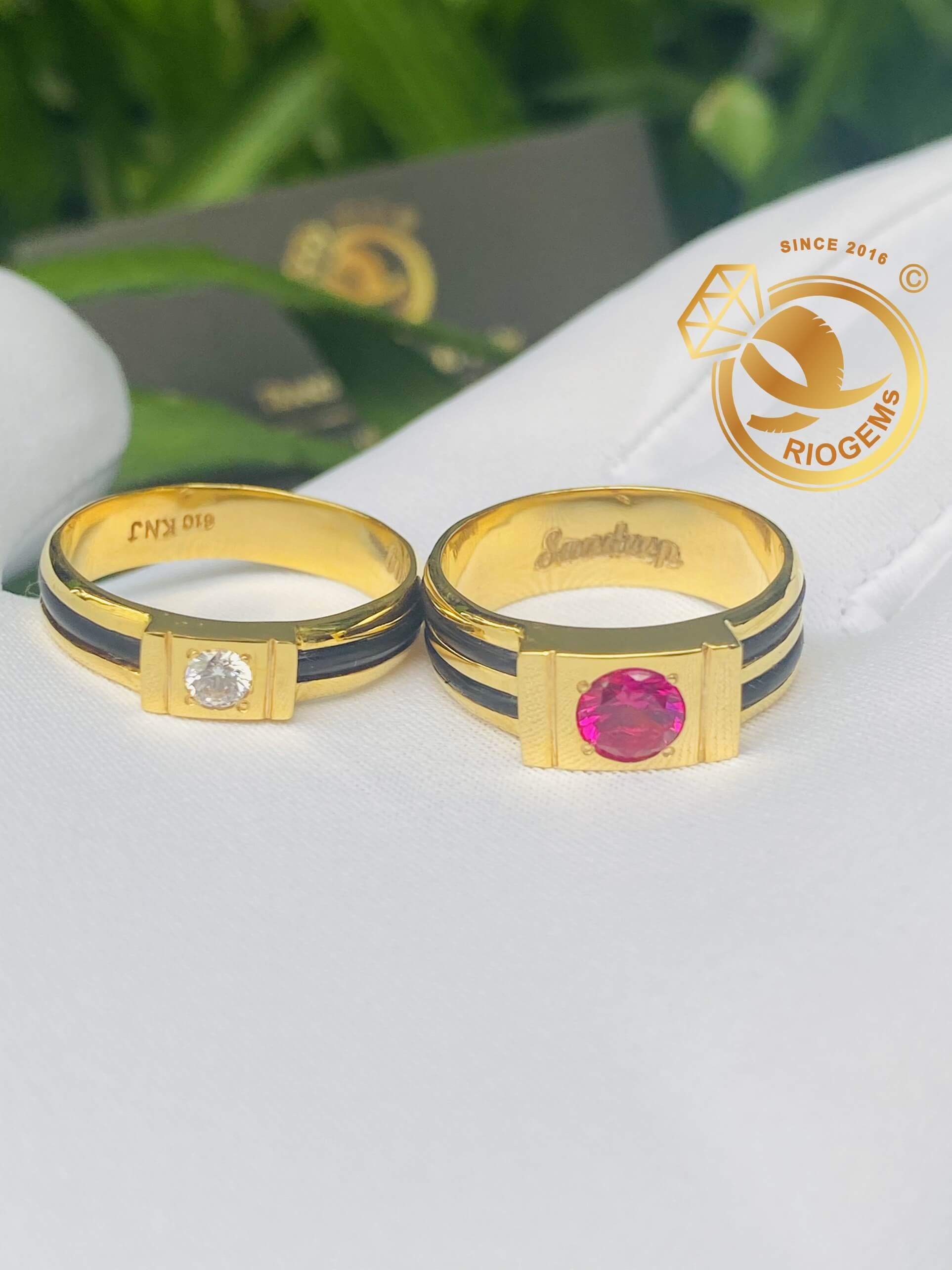 nhẫn vàng 18k đính đá