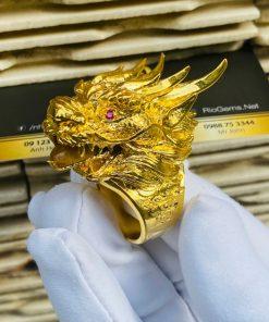 Nhẫn đầu Rồng Thạch anh Tóc vàng