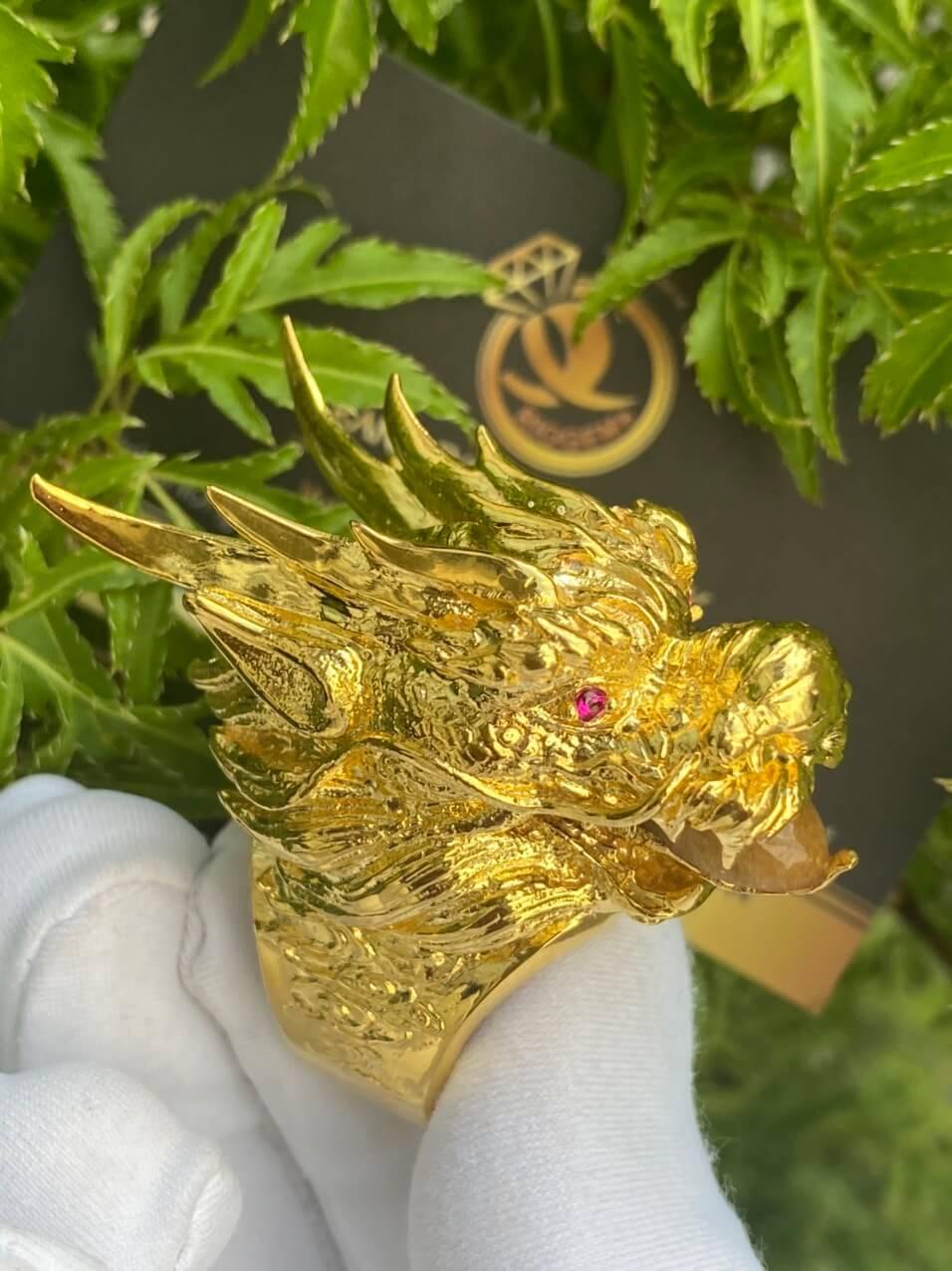 Nhẫn đầu Rồng vàng 18k
