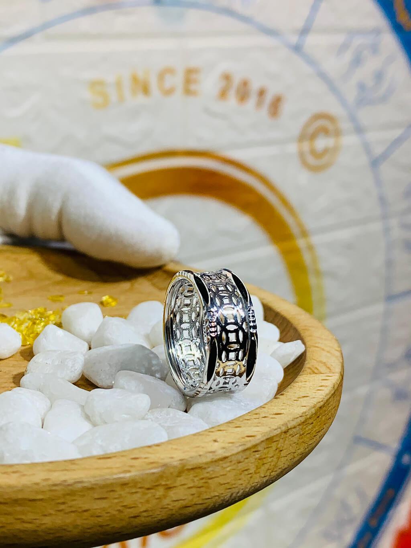 Nhẫn Kim tiền vàng trắng 18K