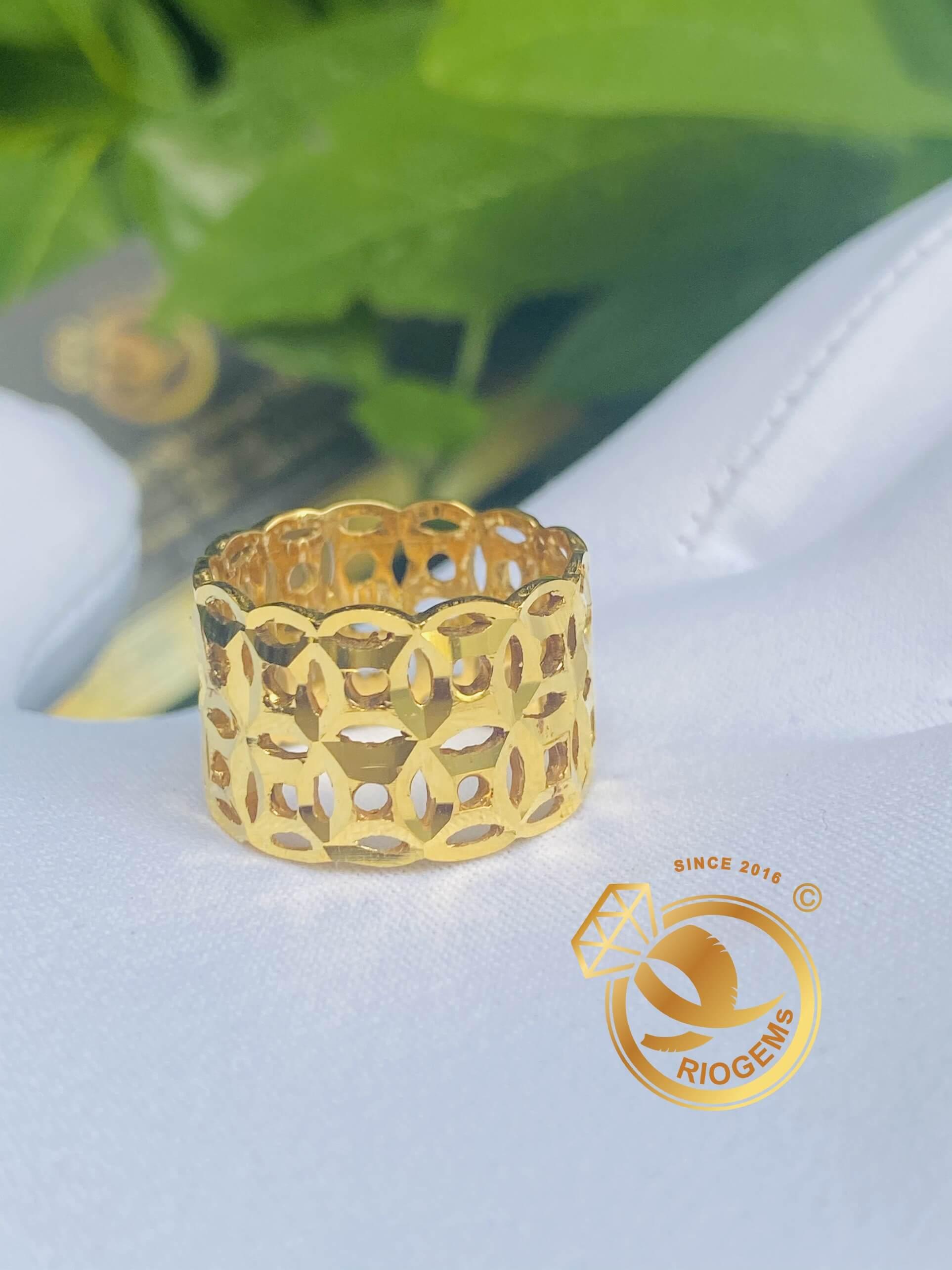 Nhẫn Kim Tiền kép Vàng 18K Riogems