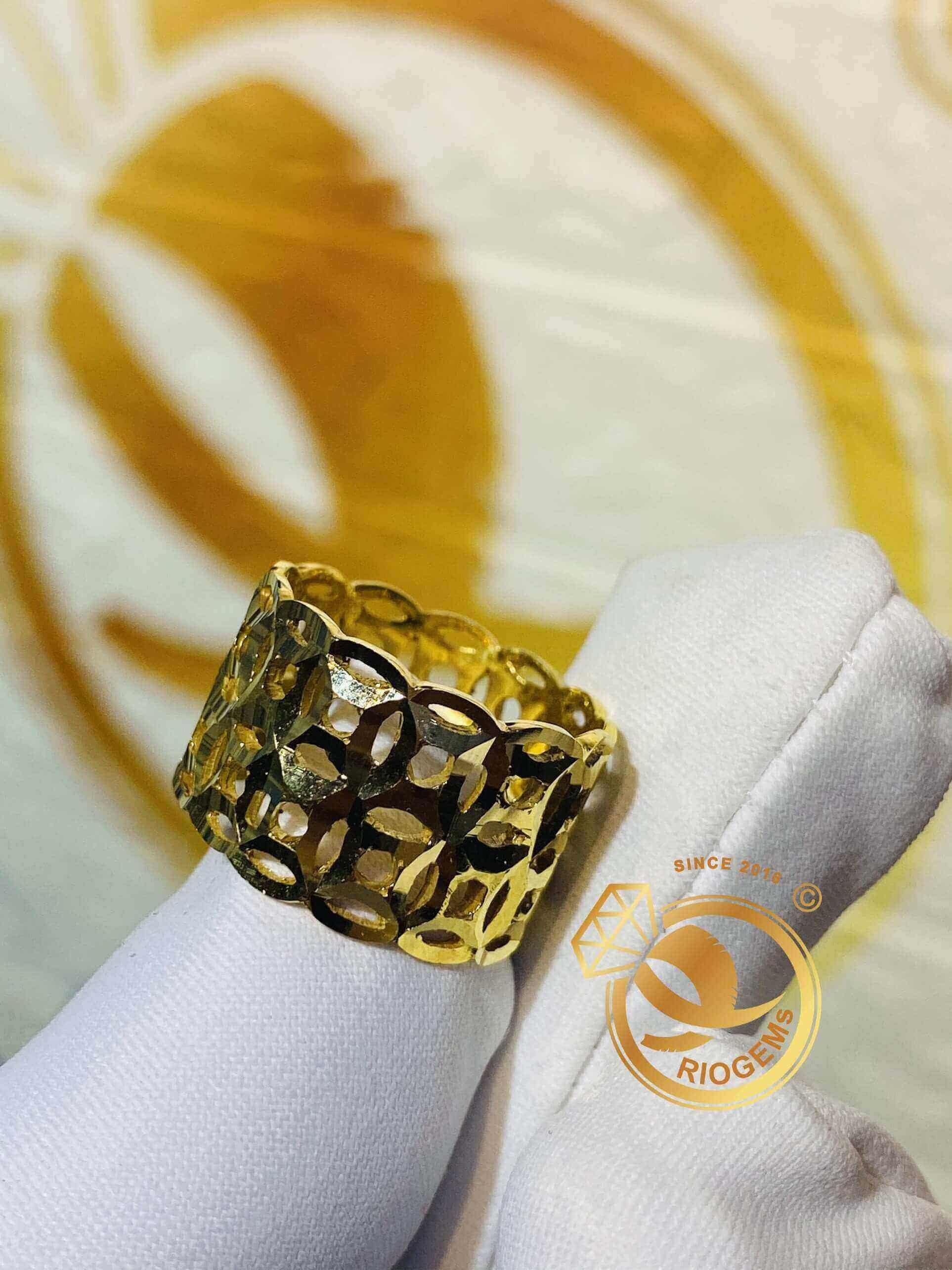 Nhẫn Kim Tiền kép vàng 18Kchuẩn phong thủy