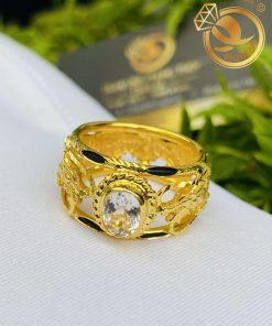 Nhẫn nam vàng 18K đính đá